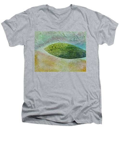 Men's V-Neck T-Shirt featuring the painting Botany II by John Hansen