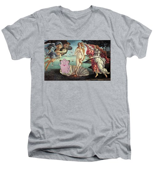 Men's V-Neck T-Shirt featuring the digital art Botticellimon Birth Of Venus by Greg Sharpe