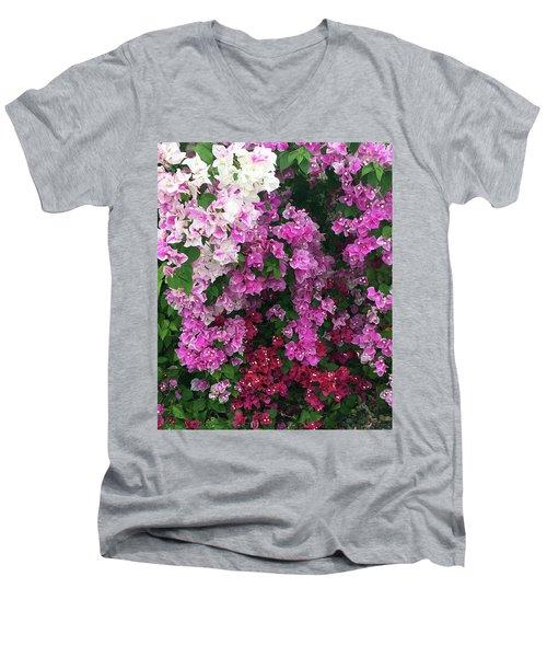 Bougainville Flowers In Hawaii Men's V-Neck T-Shirt by Karen Nicholson