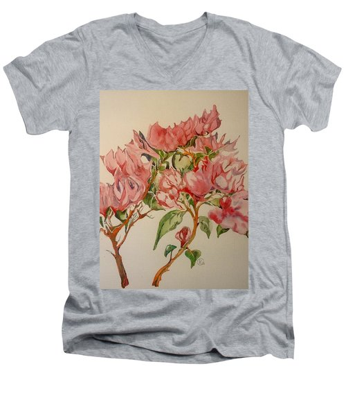 Men's V-Neck T-Shirt featuring the painting Bougainvillea by Iya Carson