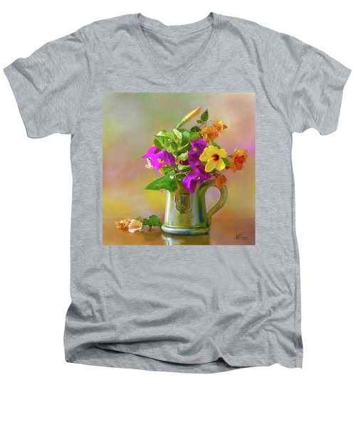 Bougainvilleas In A Green Jar. Men's V-Neck T-Shirt