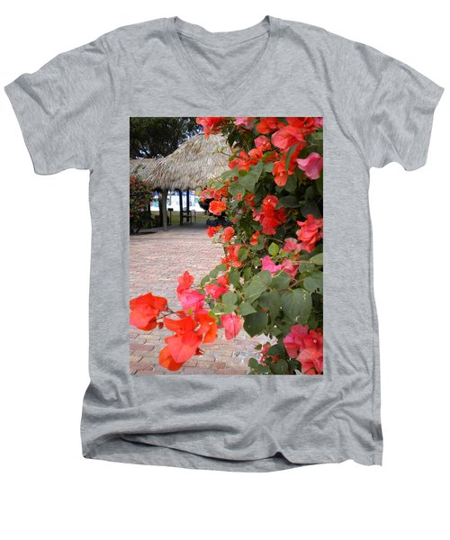Men's V-Neck T-Shirt featuring the painting Bouganvilla 2 by Renate Nadi Wesley