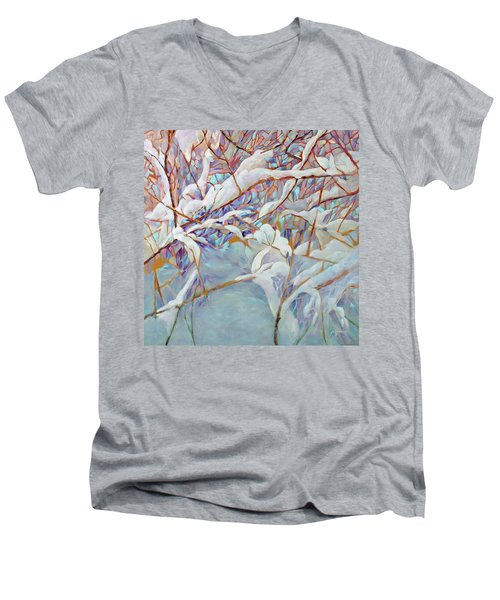 Men's V-Neck T-Shirt featuring the painting Boughs In Winter by Joanne Smoley