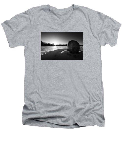 Boulder At Sunset Men's V-Neck T-Shirt