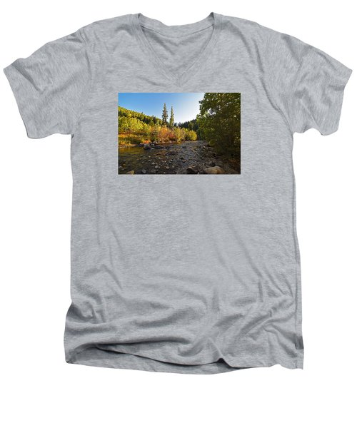 Boulder Colorado Canyon Creek Fall Foliage Men's V-Neck T-Shirt
