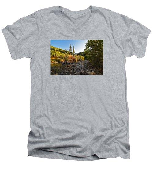 Boulder Colorado Canyon Creek Fall Foliage Men's V-Neck T-Shirt