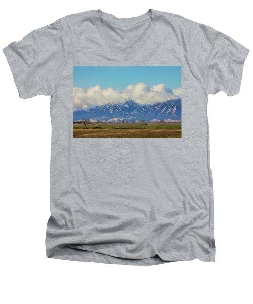 Men's V-Neck T-Shirt featuring the photograph Boulder Colorado Front Range Cloud Pile On by James BO Insogna