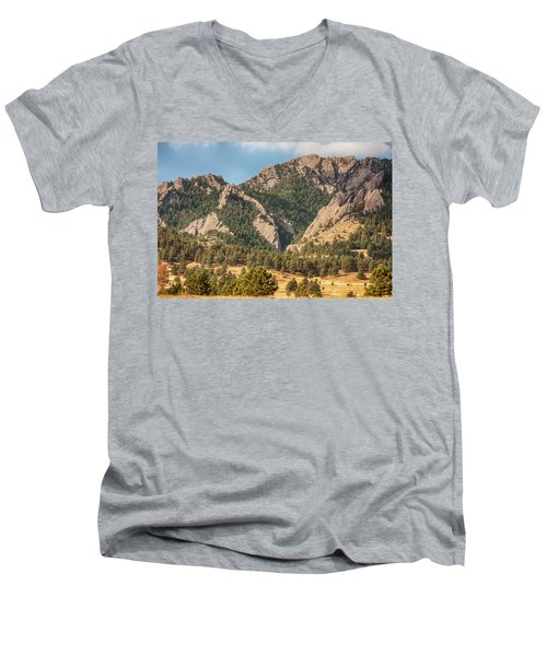 Men's V-Neck T-Shirt featuring the photograph Boulder Colorado Rocky Mountain Foothills by James BO Insogna