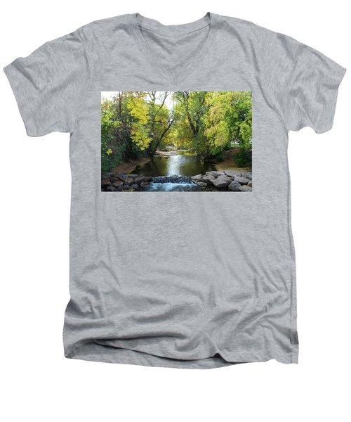 Boulder Creek Tumbling Through Early Fall Foliage Men's V-Neck T-Shirt
