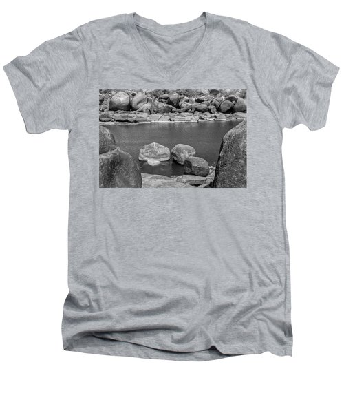 Men's V-Neck T-Shirt featuring the photograph Boulders Of Tungabhadra, Hampi, 2017 by Hitendra SINKAR