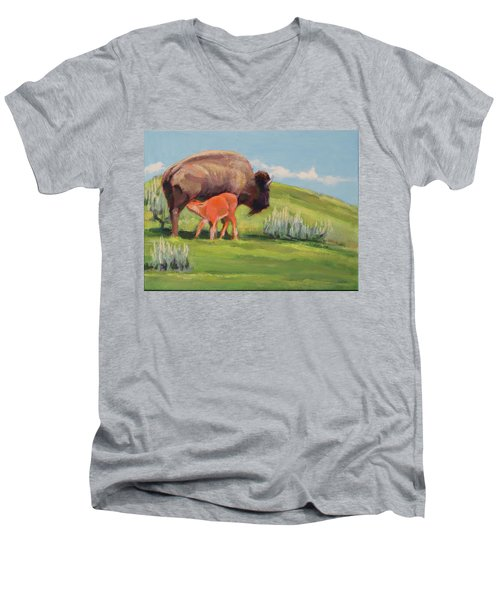 Bouncing Baby Bison Men's V-Neck T-Shirt