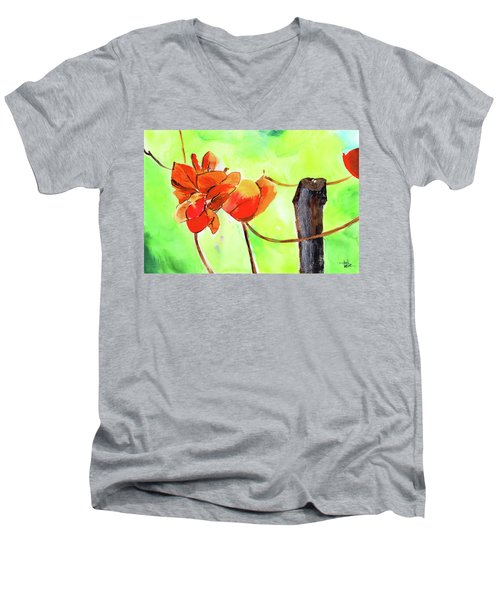 Men's V-Neck T-Shirt featuring the painting Bound Yet Free by Anil Nene