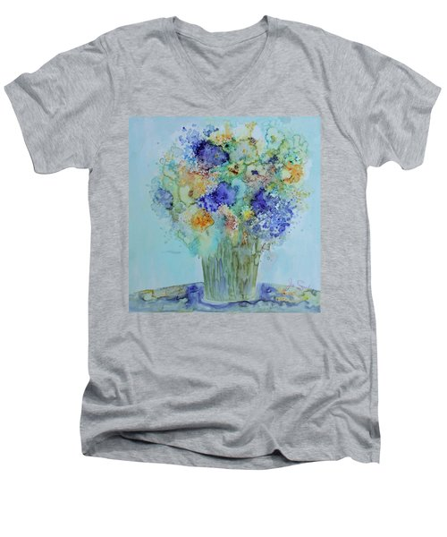 Bouquet Of Blue And Gold Men's V-Neck T-Shirt by Joanne Smoley