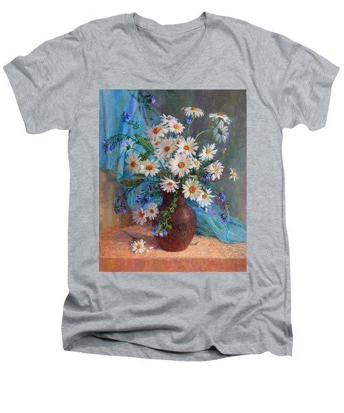 Bouquet Of Daisies In A Vase From Clay Men's V-Neck T-Shirt