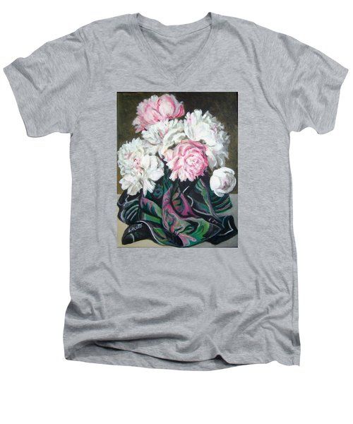 Bouquet Of Peonies Men's V-Neck T-Shirt by Laura Aceto