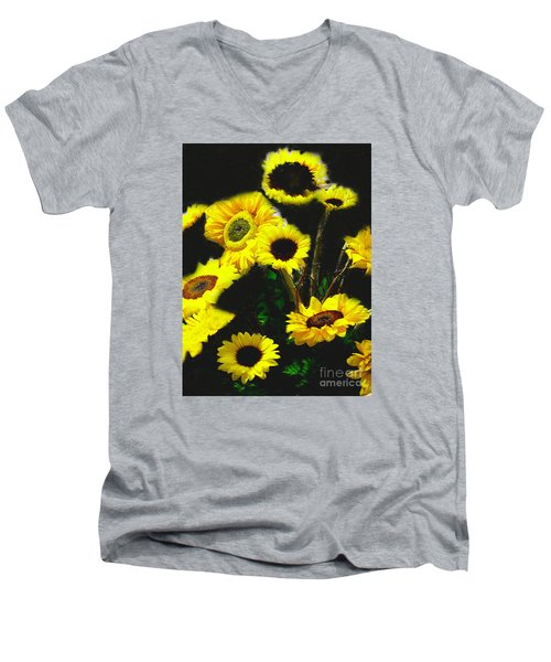 Men's V-Neck T-Shirt featuring the photograph Bouquet Of Sunflowers by Merton Allen