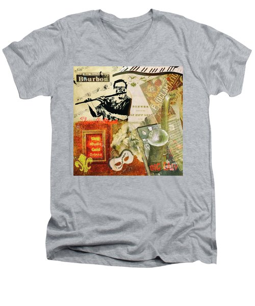 Bourbon Street Collage Men's V-Neck T-Shirt