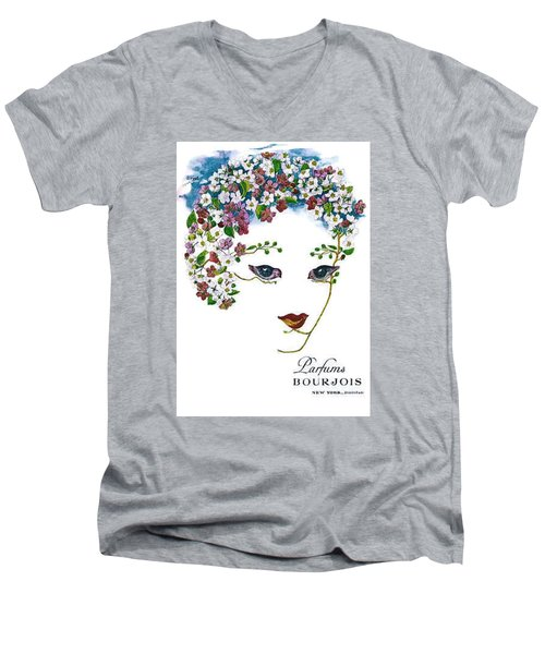 Men's V-Neck T-Shirt featuring the digital art Bourjois by ReInVintaged
