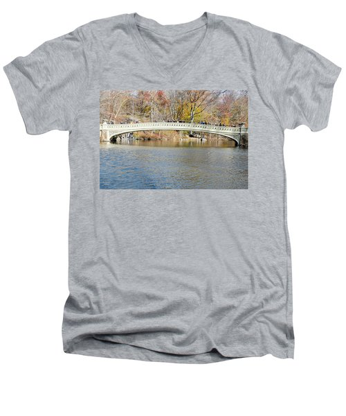 Men's V-Neck T-Shirt featuring the photograph Bow Bridge With Wedding by Steven Richman