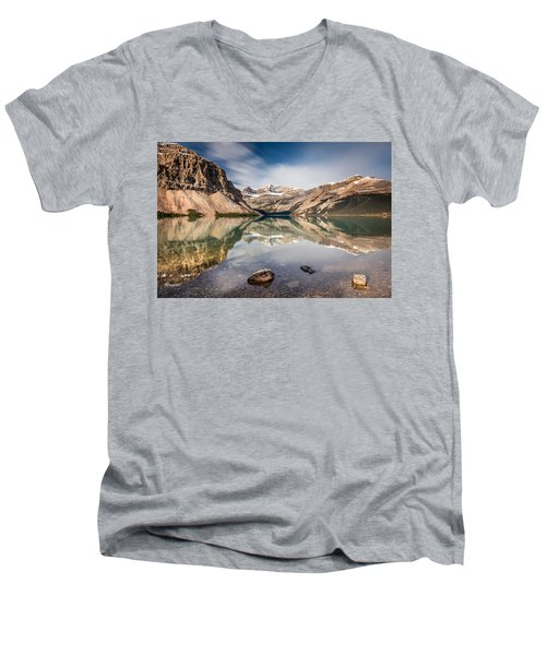 Bow Lake Glorious Reflection Men's V-Neck T-Shirt by Pierre Leclerc Photography