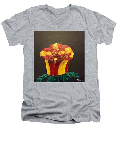Bow Rose Men's V-Neck T-Shirt