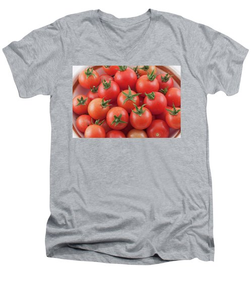 Men's V-Neck T-Shirt featuring the photograph Bowl Of Cherry Tomatoes by James BO Insogna