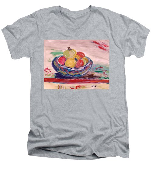 Bowl On A Red Edge Men's V-Neck T-Shirt