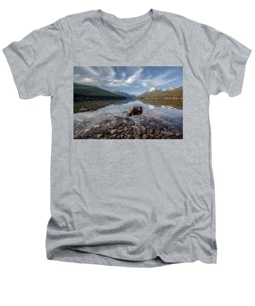 Men's V-Neck T-Shirt featuring the photograph Bowman Lake Rocks by Aaron Aldrich