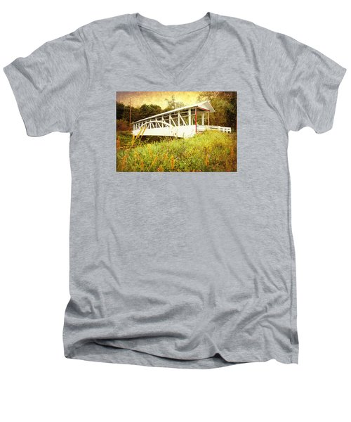 Men's V-Neck T-Shirt featuring the photograph Bowser Covered Bridge by Trina  Ansel