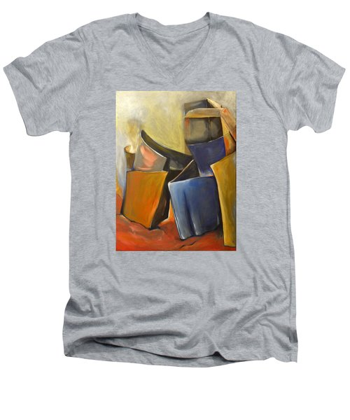 Box Scape Men's V-Neck T-Shirt by Nadine Dennis