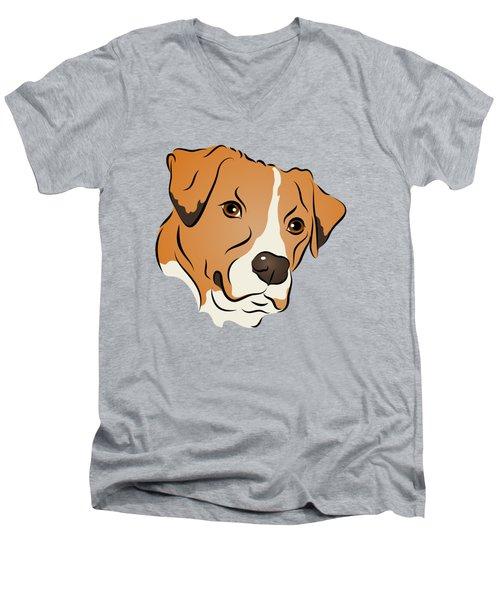 Boxer Mix Dog Graphic Portrait Men's V-Neck T-Shirt