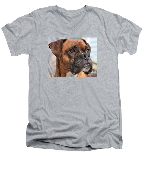 Men's V-Neck T-Shirt featuring the photograph Boxer Portrait by Debbie Stahre