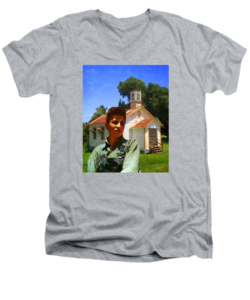 Men's V-Neck T-Shirt featuring the photograph Boy And Church by Timothy Bulone