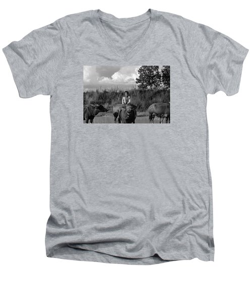 Men's V-Neck T-Shirt featuring the photograph Boy And Cows by Arik S Mintorogo