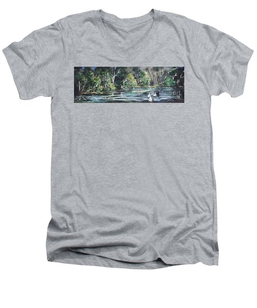 Men's V-Neck T-Shirt featuring the painting Boy And Geese At The Creek. by Ryn Shell