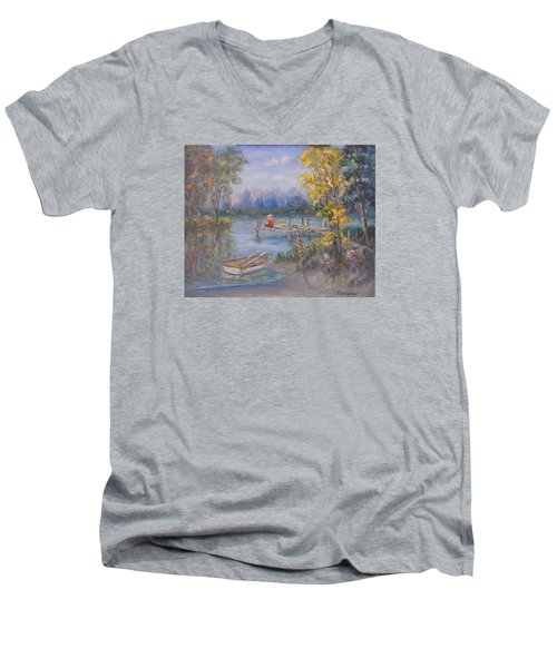 Boy Fishing On Dock And Boat On Lake Men's V-Neck T-Shirt