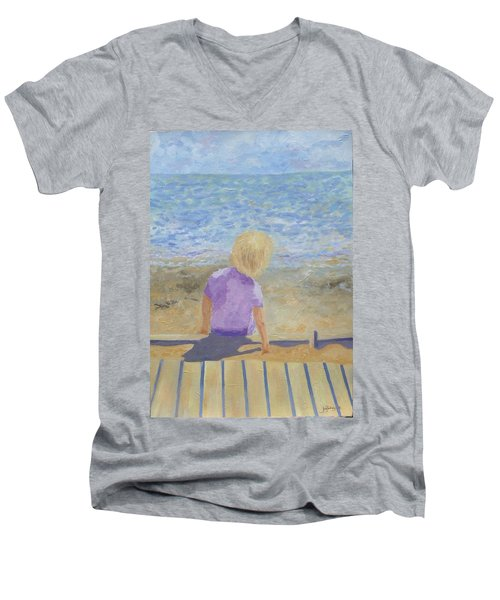 Boy Lost In Thought Men's V-Neck T-Shirt