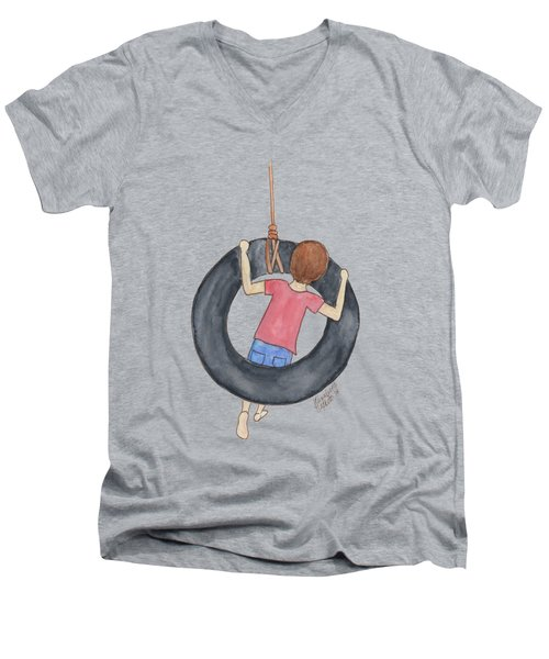 Boy On Swing 1 Men's V-Neck T-Shirt