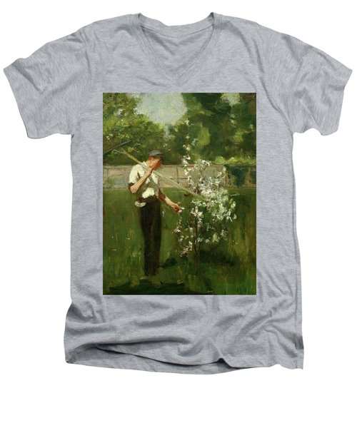 Men's V-Neck T-Shirt featuring the painting Boy With A Grass Rake by Henry Scott Tuke
