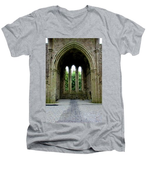 Men's V-Neck T-Shirt featuring the photograph Boyle Abbey In Ireland 2 by Michelle Joseph-Long