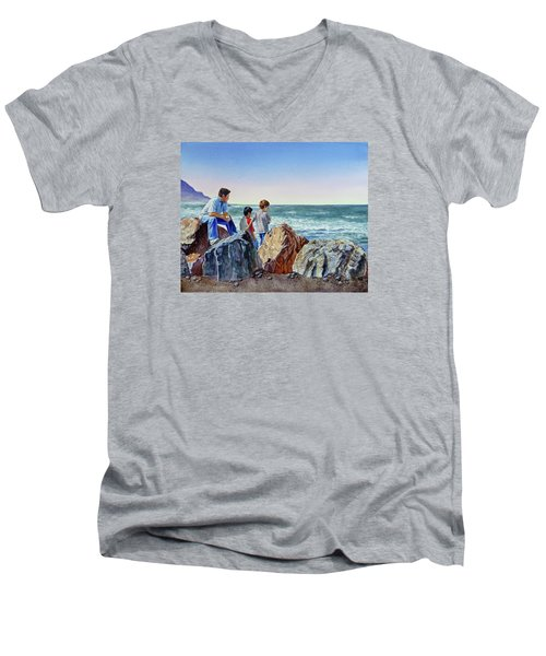 Men's V-Neck T-Shirt featuring the painting Boys And The Ocean by Irina Sztukowski