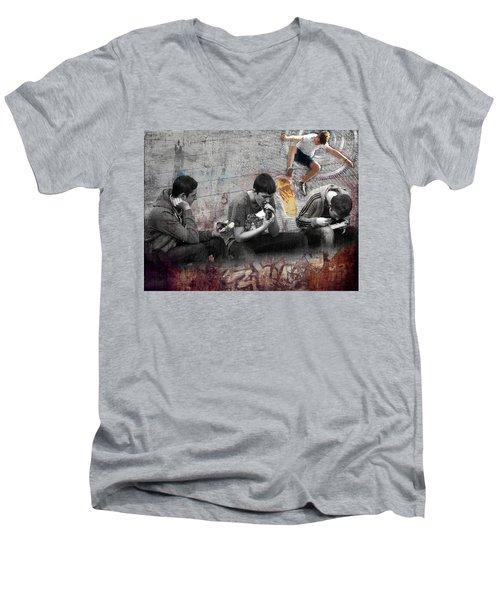 Boys Will Be Men's V-Neck T-Shirt by Judi Saunders