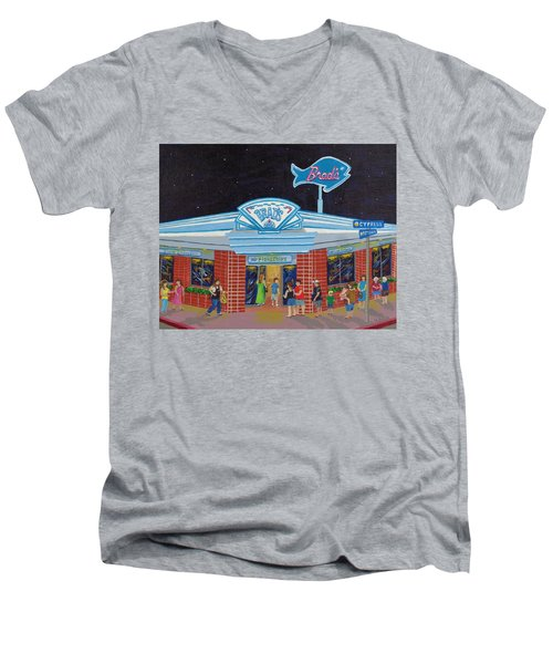 Men's V-Neck T-Shirt featuring the painting Brad's Pismo Beach California by Katherine Young-Beck