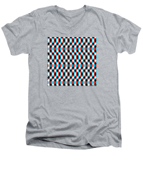 Brain Waves - Blue Men's V-Neck T-Shirt