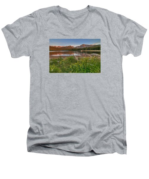 Brainard Lake Men's V-Neck T-Shirt by Gary Lengyel