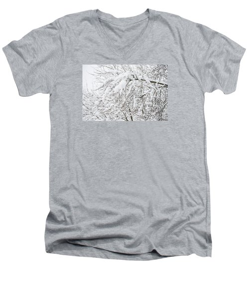Branches Weighted With Snow Men's V-Neck T-Shirt by Deborah Smolinske
