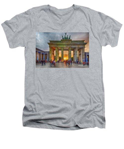 Brandenburg Gate Men's V-Neck T-Shirt by Pravine Chester