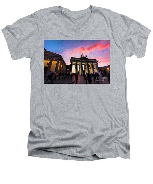 Branderburg Gate Men's V-Neck T-Shirt by Pravine Chester