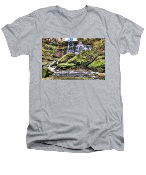 Brandywine Falls Men's V-Neck T-Shirt by Brent Durken