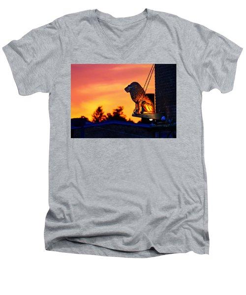 Men's V-Neck T-Shirt featuring the photograph Brass Cat Lion by Sven Kielhorn